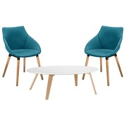 Pack 2 armchairs Anet blue and 1 low table Izoa