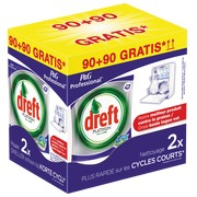 Pack tablettes vaisselle Dreft Platinum: 90 tablettes + 90 tablettes offertes