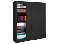 Sliding door cabinet H 200 x W 160 cm metal high volume black